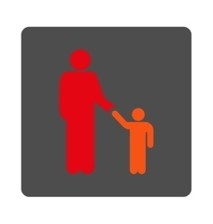 Father With Son Rounded Square Button vector image