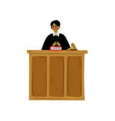 female judge character presiding over court vector image