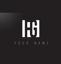 fg letter logo with black and white negative vector image
