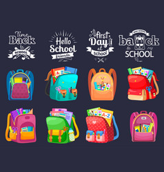 First day or back to school full backpack vector
