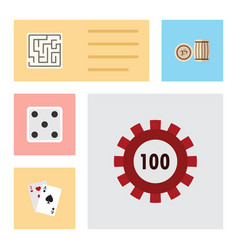 flat icon games set of backgammon lottery vector image
