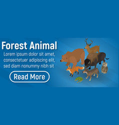 Forest animal concept banner isometric style vector