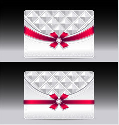 Gift cards with geometric pattern red bow ribbon vector