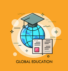 Globe with graduation cap and opened book modern vector