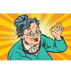 Grandma okay gesture the elderly vector