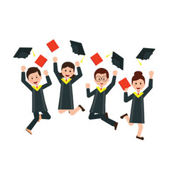 Group of happy graduates throwing graduation hats vector
