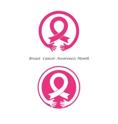 Hand and Pink ribbon vector