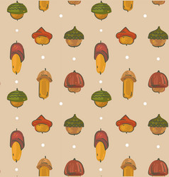 Hand drawn cartoon autumn seamless pattern vector