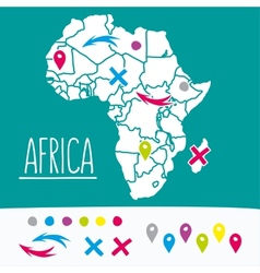 Hand drawn style flat africa travel map with pins vector