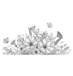 hand drawn wild flowers and flying butterflies vector image