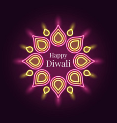 Happy diwali banner in bright neon style vector