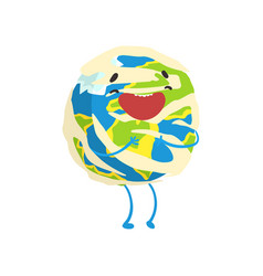 Happy smiling cartoon earth planet character vector
