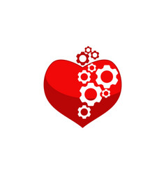 heart gear logo design template vector image