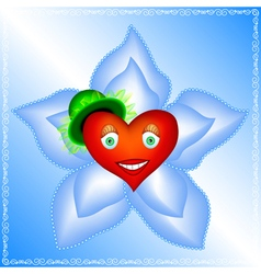 heart of a woman is in big blue flower vector image