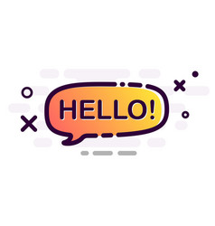 Hello poster with orange gradient speech bubble vector