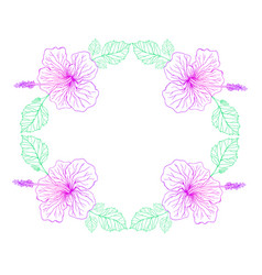 Hibiscus flower pink color vintage fram vector