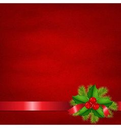 Holly Berry With Red Background vector