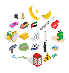 Independent travel icons set isometric style vector