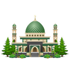 Islamic mosque building with green plant vector