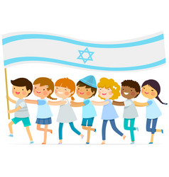 Kids with big israeli flag vector