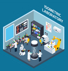 Laboratory interior isometric design vector