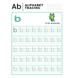 Letter b alphabet tracing book with example and vector