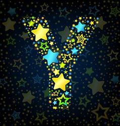 Letter y cartoon star colored vector