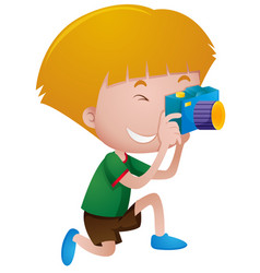 Little boy taking picture with camera vector