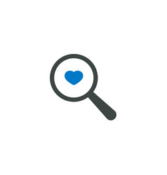 magnifying glass icon heart love icon vector image