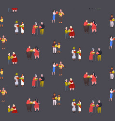 mix race couples giving gift present boxes to each vector image
