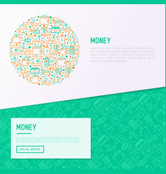 money concept in circle with thin line icons vector image