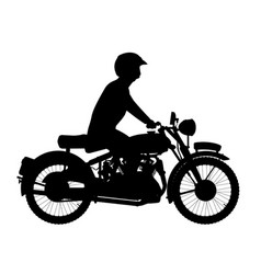 Motor cyclist silhouette vector