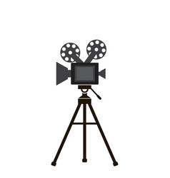 movie camera in flat style gray color white vector image