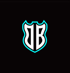 o b initial logo design with shield shape vector image