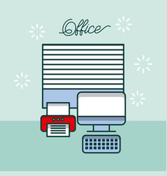office computer device printer window work site vector image