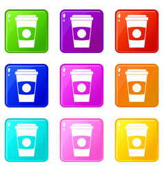 Paper coffee cup icons 9 set vector