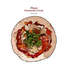 Parma ham pizza hand draw sketch vector