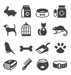 Pet shop bold black silhouette icons set isolated vector