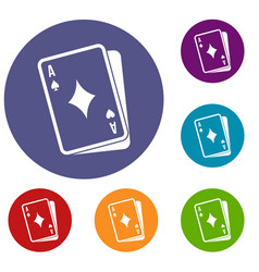 Playing card icons set vector