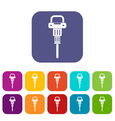 pneumatic hammer icons set flat vector image