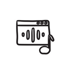 Radio sketch icon vector