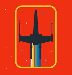 Rainbow star wars x-wing vector