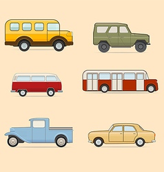 Retro transport icons set vector image