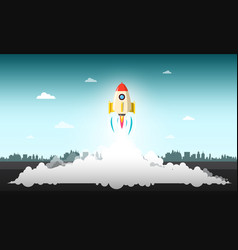 Rocket launch with abstract urban landscape on vector
