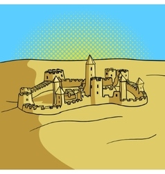 Sand castle pop art style vector