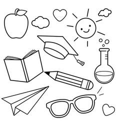 School themed sketch icons vector