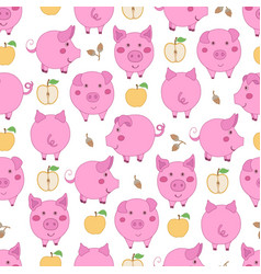 Seamless pattern with cartoon pink pigs yellow vector