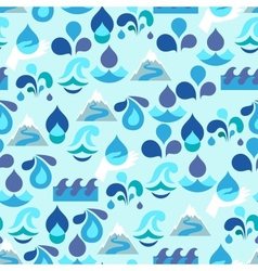 Seamless pattern with water icons in flat design vector