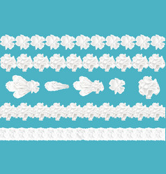 seamless whipped cream borders for cake vector image
