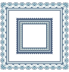 Set of ethnic ornament pattern frames in blue vector